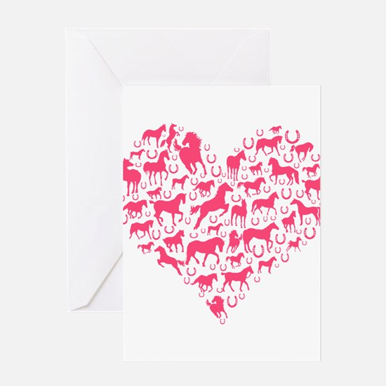 Horse Heart Pink Greeting Cards