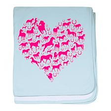 Horse Heart Pink baby blanket