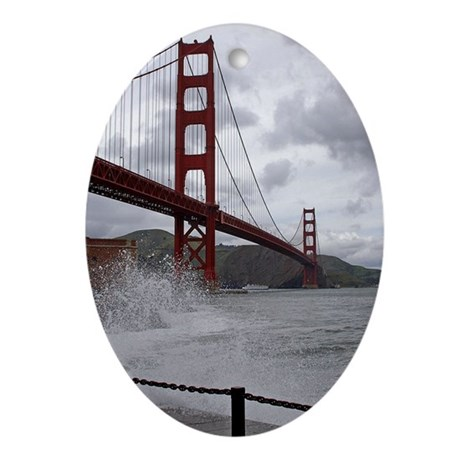 Golden Gate from Fort Point Oval Ornament