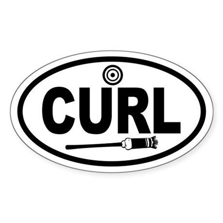 Curling Broom and Target Oval Sticker