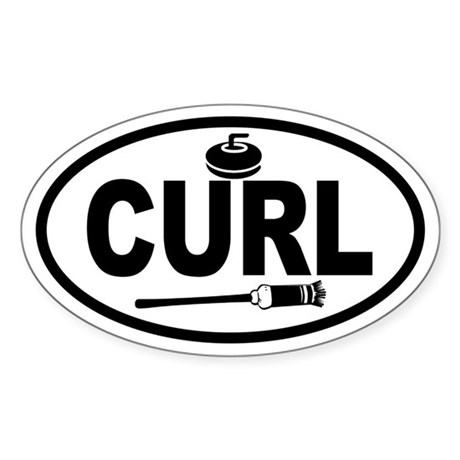 Curling Stone and Broom Oval Sticker