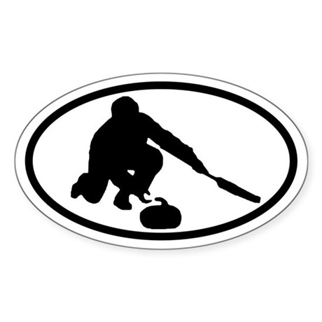 Curling Oval Sticker