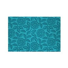 Engraved Roses - Aqua Blue Rectangle Magnet