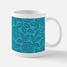 Engraved Roses - Aqua Blue Mug