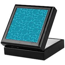 Engraved Roses - Aqua Blue Keepsake Box