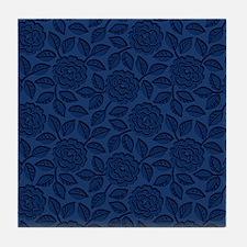 Engraved Roses - Dark Blue Tile Coaster