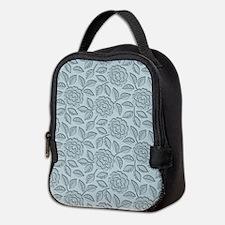 Engraved Roses - Pastel Blue Neoprene Lunch Bag