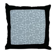 Engraved Roses - Pastel Blue Throw Pillow