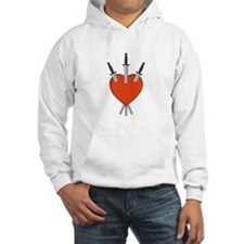 Three Of Swords Tarot Card Heart Symbol Hoodie