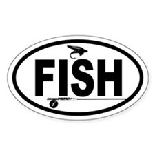 Fishing Fly and Rod Oval Decal