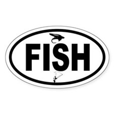 Fisherman and Fly Oval Decal