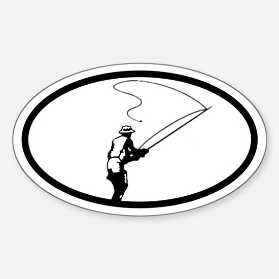 Fly Fisherman Oval Decal