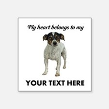 "Custom Smooth Fox Terrier Square Sticker 3"" x 3"""