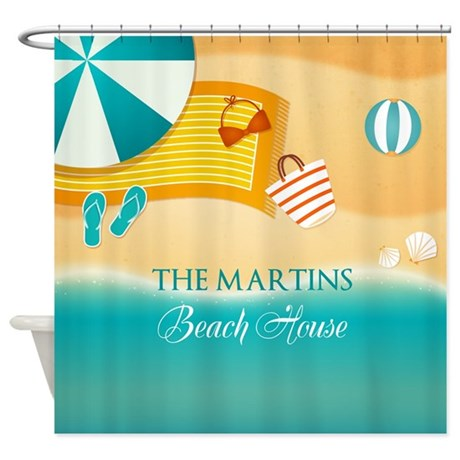 Personalized Summer Beach Shower Curtain