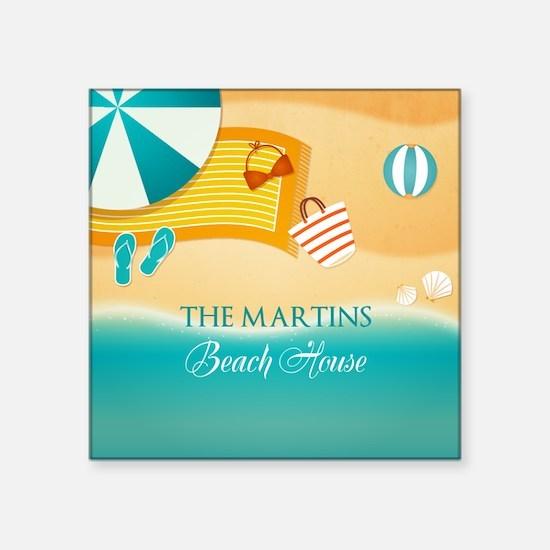 "Personalized Summer Beach Square Sticker 3"" x 3"""