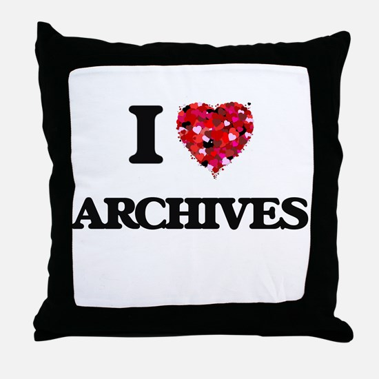 I Love Archives Throw Pillow