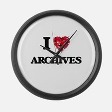 I Love Archives Large Wall Clock