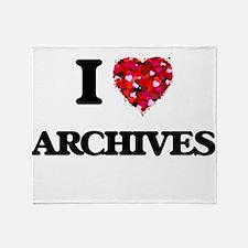 I Love Archives Throw Blanket