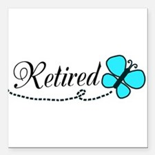 """Retired Teal Black Butterfly Square Car Magnet 3"""""""