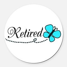 Retired Teal Black Butterfly Round Car Magnet