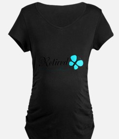 Retired Teal Black Butterfly Maternity T-Shirt