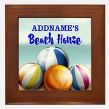 Personalized Beach Balls Beach House Framed Tile