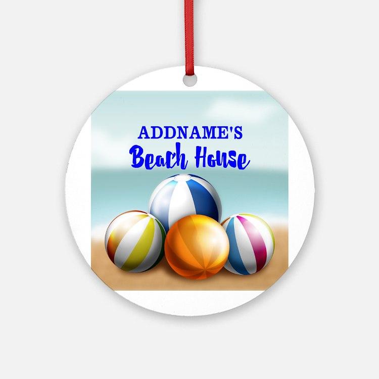 Personalized Beach Balls Beach Ho Ornament (Round)