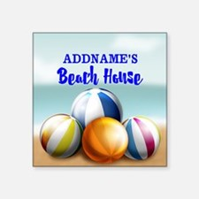 "Personalized Beach Balls Be Square Sticker 3"" x 3"""