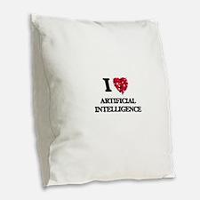 I Love Artificial Intelligence Burlap Throw Pillow