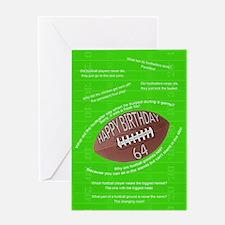 64th birthday, awfull football jokes Greeting Card