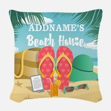 Tropical Paradise Beach House Woven Throw Pillow