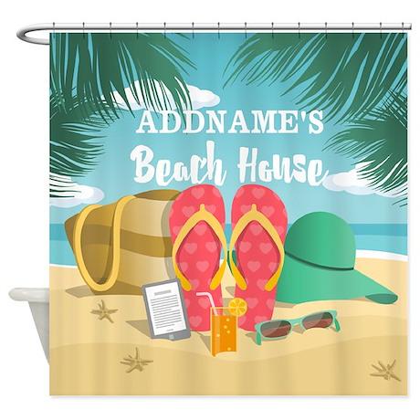 tropical paradise beach house perso shower curtain