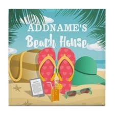 Tropical Paradise Beach House Persona Tile Coaster