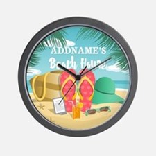 Tropical Paradise Beach House Personali Wall Clock