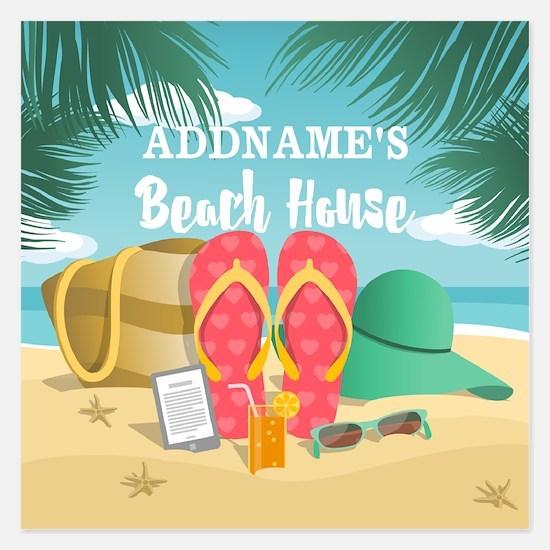 Tropical Paradise Beach Hou Invitations