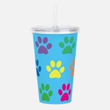 Colorful puppy paw pri Acrylic Double-wall Tumbler