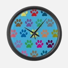 Colorful puppy paw prints design Large Wall Clock
