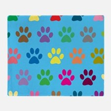 Colorful puppy paw prints design Throw Blanket