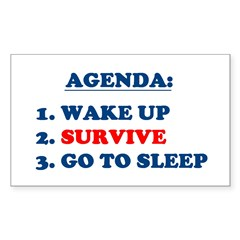 AGENDA TO SURVIVE Rectangle Decal