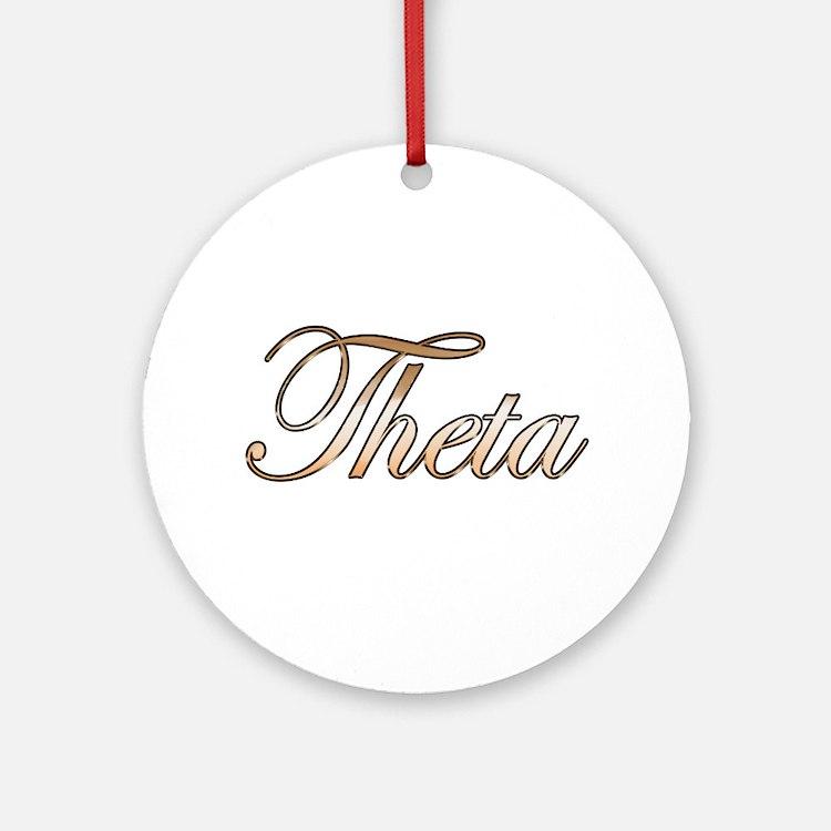 Gold Theta Round Ornament