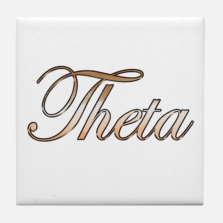 Gold Theta Tile Coaster