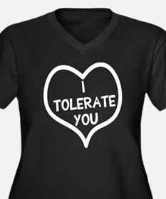 I tolerate y Women's Plus Size V-Neck Dark T-Shirt