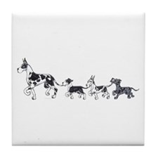 Great Dane Harlequin & pup train Tile Coaster