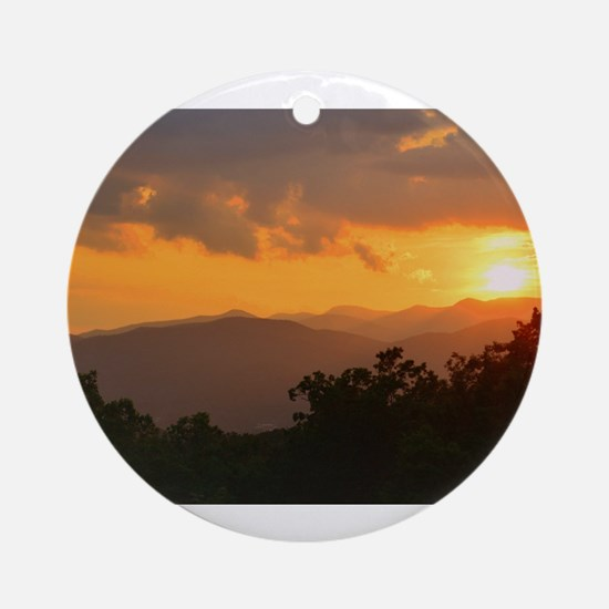 Pisgah Forest Sunset Ornament (Round)