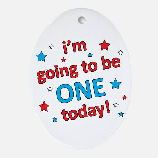Patriotic 1st Birthday Oval Ornament