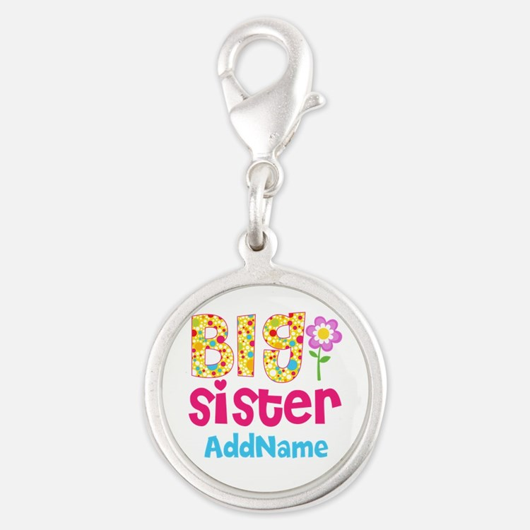 Big Sister Pink Teal Floral Pe Silver Round Charm