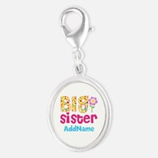 Big Sister Pink Teal Floral Per Silver Oval Charm