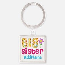 Big Sister Pink Teal Floral Person Square Keychain