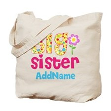 Big Sister Pink Teal Floral Personalized Tote Bag