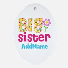Big Sister Pink Teal Floral Person Ornament (Oval)